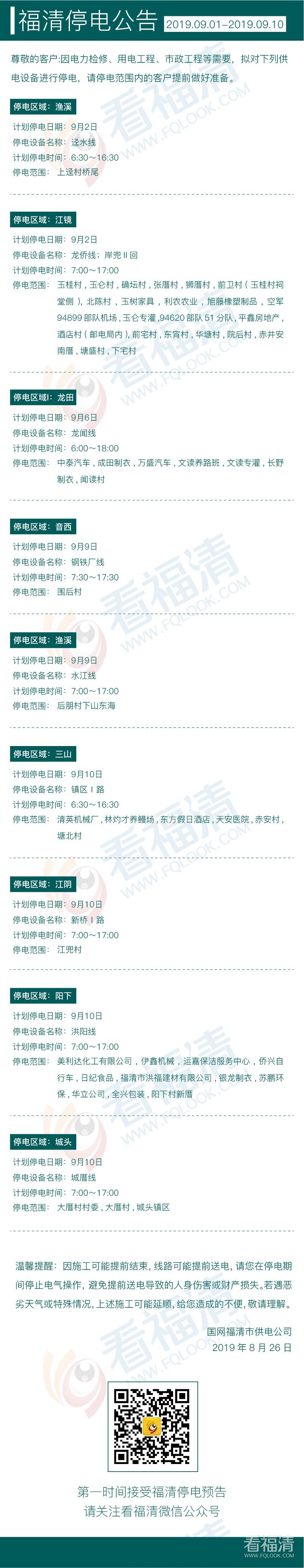 2019年9月福清停电公告(01日至10日)