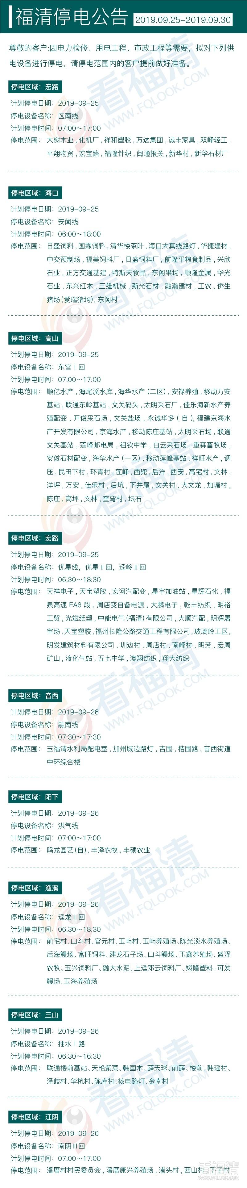 2019年9月福清停电公告(25日至30日)