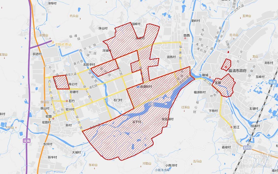 福清市中心城区危房改造分类范围