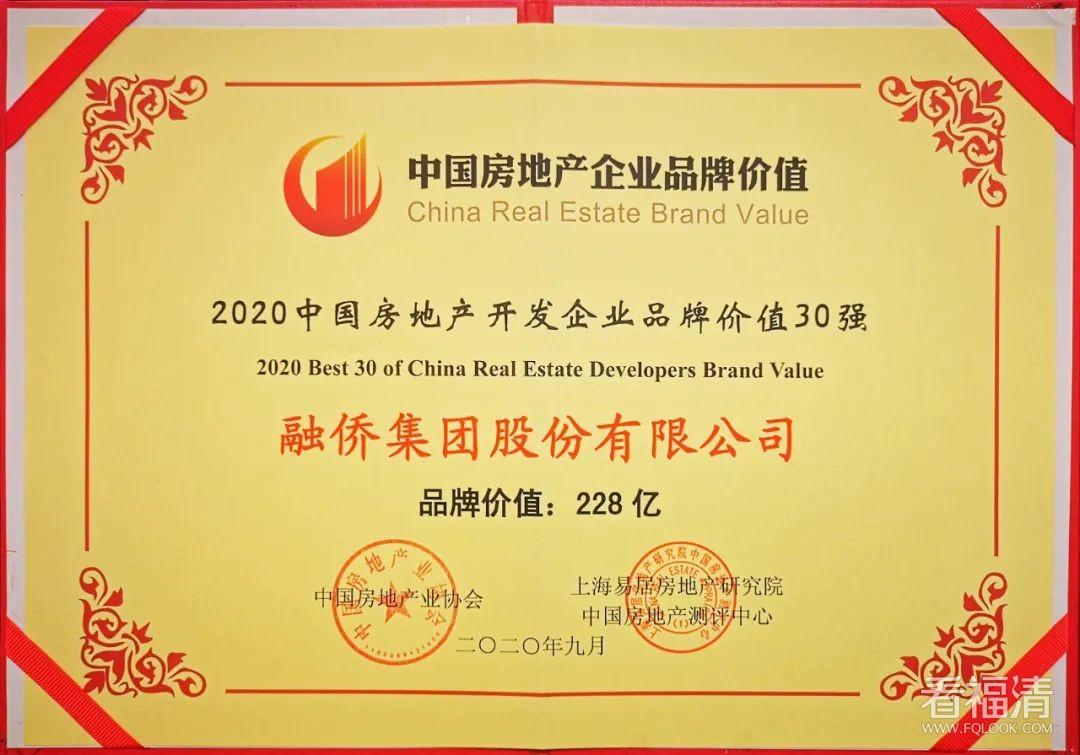 融侨集团再次荣膺2020中国房地产开发企业品牌价值21强