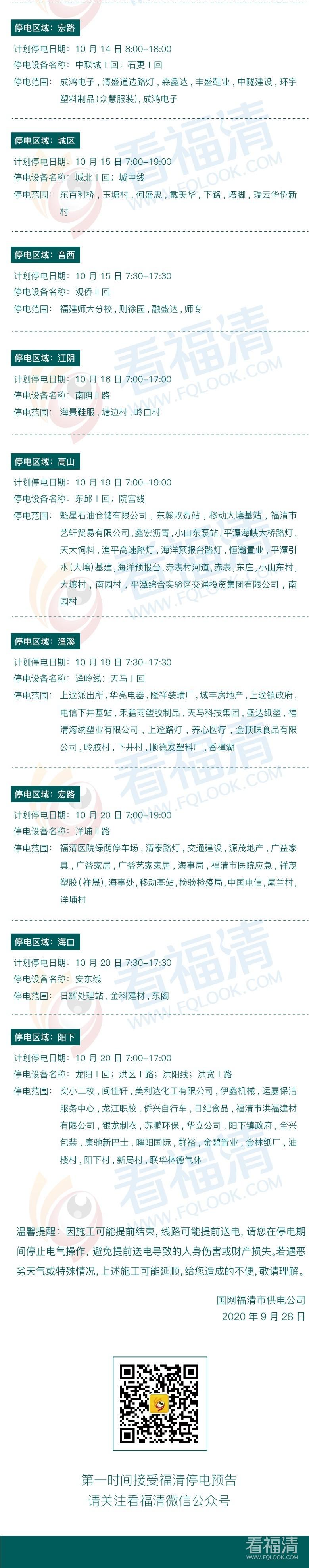2020年10月福清停电公告(1日至20日)