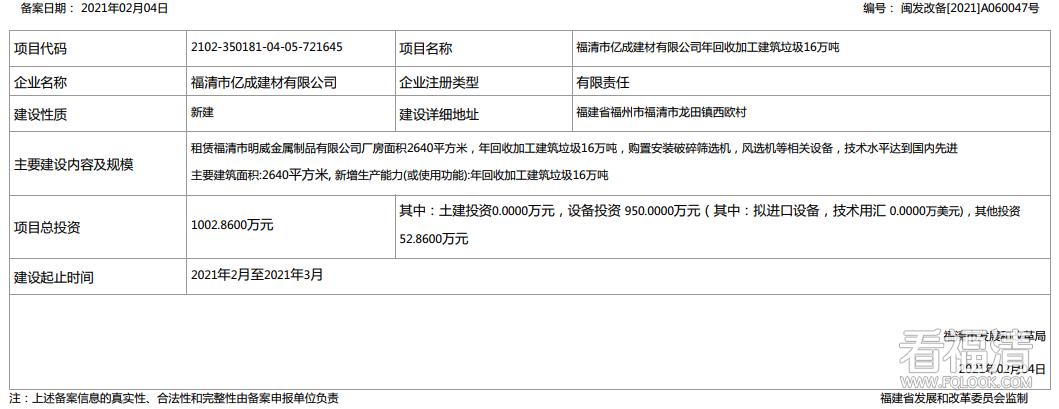 【重大建设项目-新建】福清市亿成建材有限公司相关项目